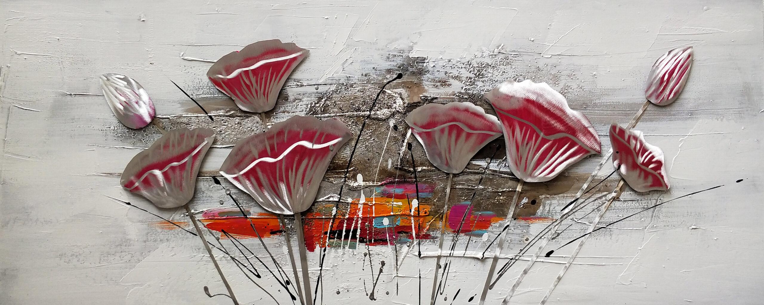 Schilderij Flowers and Splatters Bloemen Kleuren GS-P1071