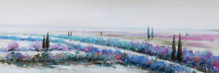 """Schilderij """"Purple Blue Landscape"""""""
