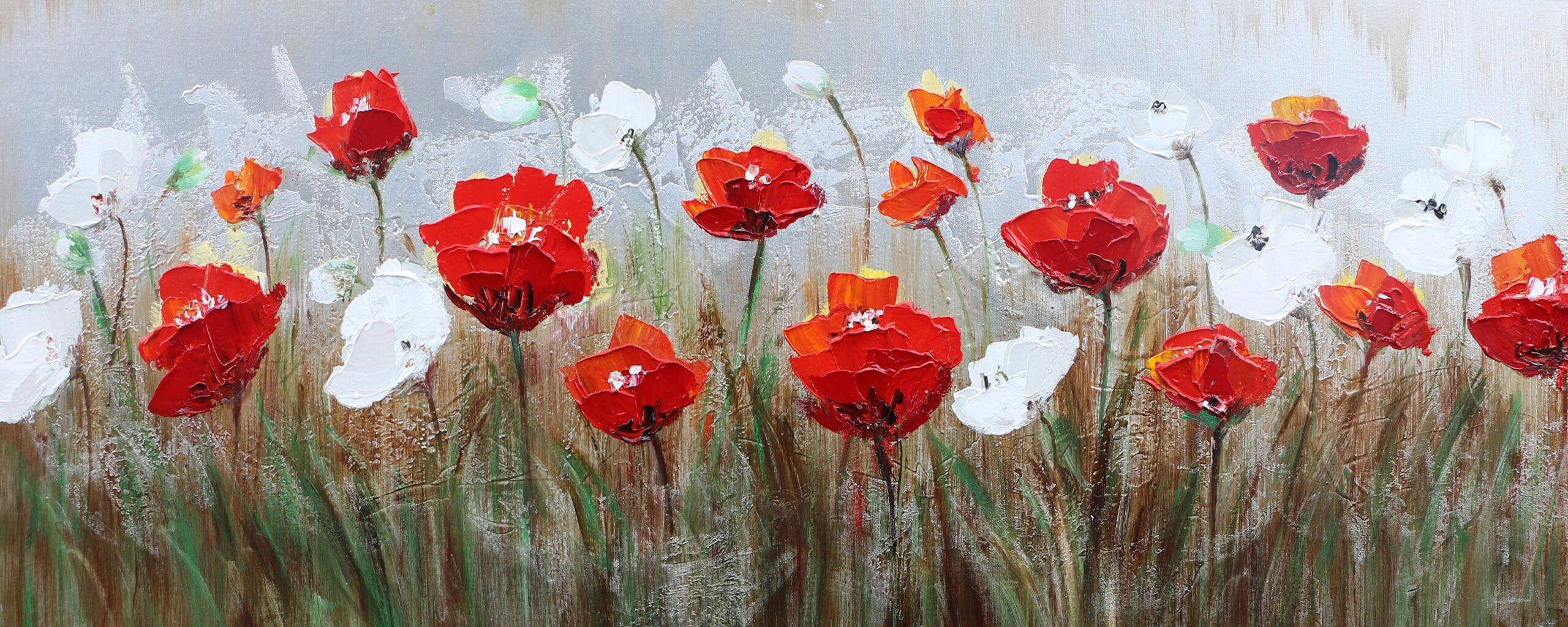 Schilderij Red & White Beauties Bloemen Bloemenveld GS-P0547