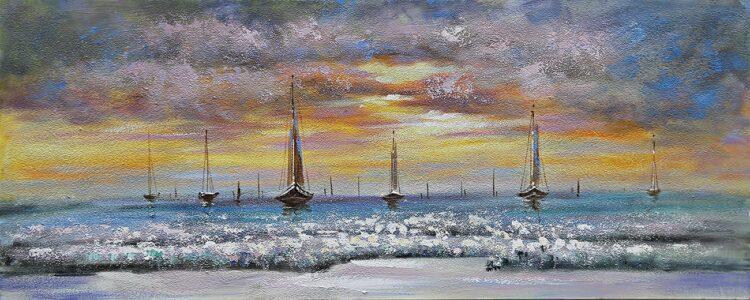 """Schilderij """"Sailing Through Sunset"""""""