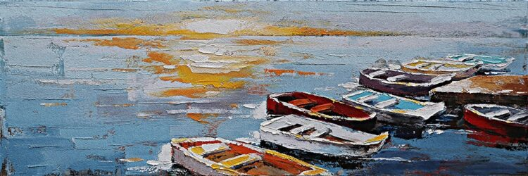 """Schilderij """"Sunset by the Boats"""""""