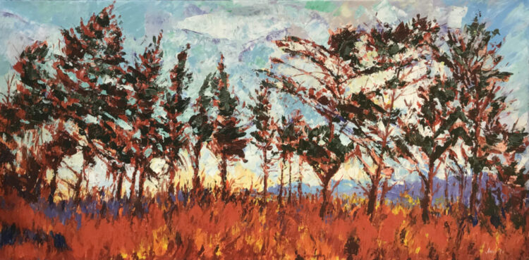 """Schilderij """"Bomen in het Veld"""""""