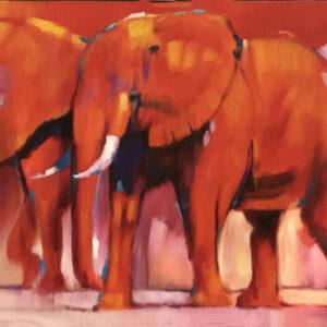 """Schilderij """"Kudde Olifanten"""""""