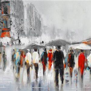"""Schilderij """"Strolling with Umbrella's"""""""