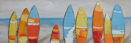 "Schilderij ""Surfboards on the Beach"""