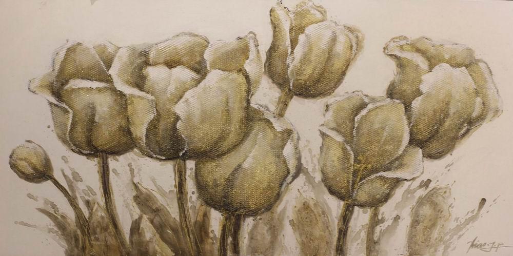 Schilderij Vintage Tulips Bloemen Rozen GS-Y0369B